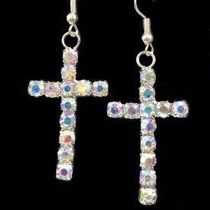 AB Rhinestone Cross Dangle Earrings PRONG SET